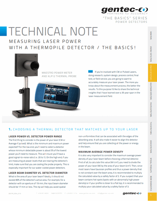 Measuring laser power with a thermopile detector: The basics!