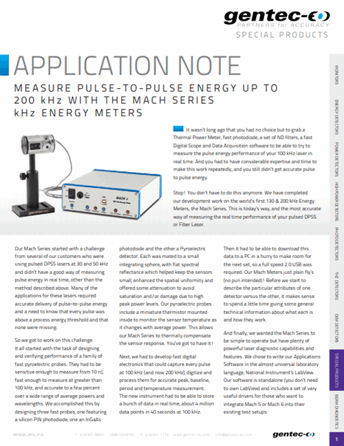Measure 200 kHz pulse-to-pulse energy with MACH 6