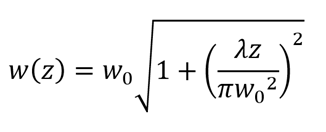 equation - laser spot size
