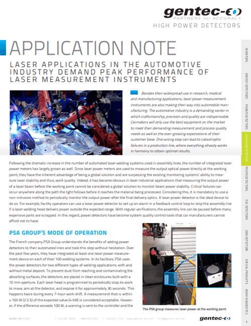 Laser applications in the automotive industry demand peak performance of laser measurement instruments
