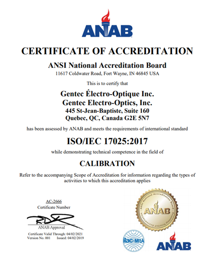 Gentec-EO received ISO/IEC 17025:2017 ACCREDITATION