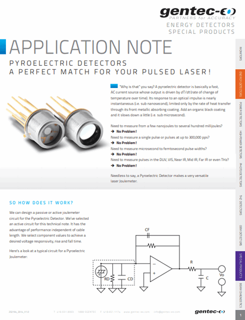 Pyroelectric detectors: A perfect match for your pulsed Laser!
